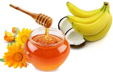 Banana and honey helps in giving a clean and healthy scalp
