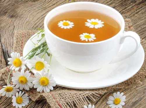 Chamomile tea has flavonoids that relaxes the mind and keeps mood happy