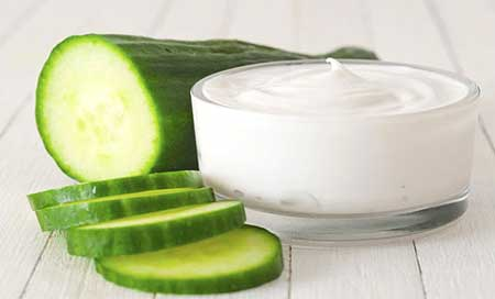 Cucumber and milk are good for the dry skin and adds radiance too