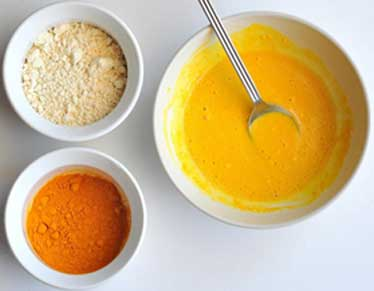 Gram flour, milk and turmeric
