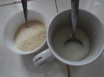 Warm Water Sugar Yogurt Solution