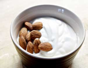 Yogurt and almond helps in exfoliating the skin and makes it soft