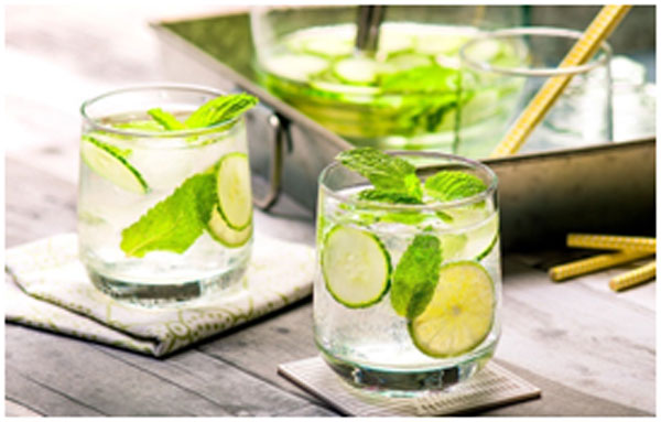 Cucumber and mint gives a refreshed feeling